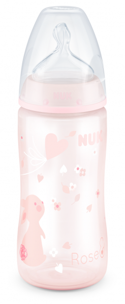 NUK -  First Choice РР шише 300 мл. силикон, 0-6 мес., р-р М   ROSE.