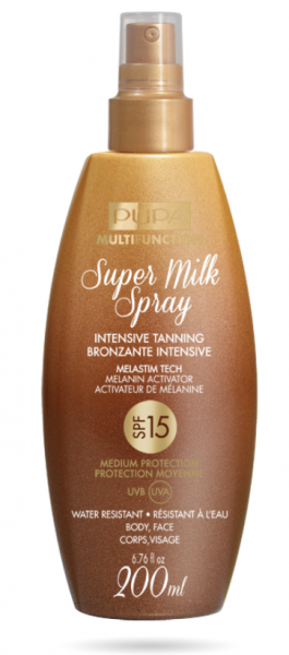 Pupa -  Sun- SUPER MILK SPRAY INTENSIVE TANNING SPF 15 / 30   - Слънцезащитно мляко спрей  SPF 15 / 30 . 200 ml