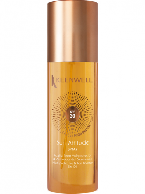 Keenwell - SUN ATTITUDE - Spray multi-protective tan booster dry oil spf 30 - Мултизащитно сухо олио за бърз тен SPF 30. 150 ml.